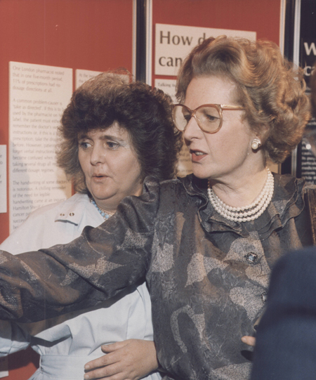 Chrissie and Lady Thatcher at a Plain English campaign exhibition